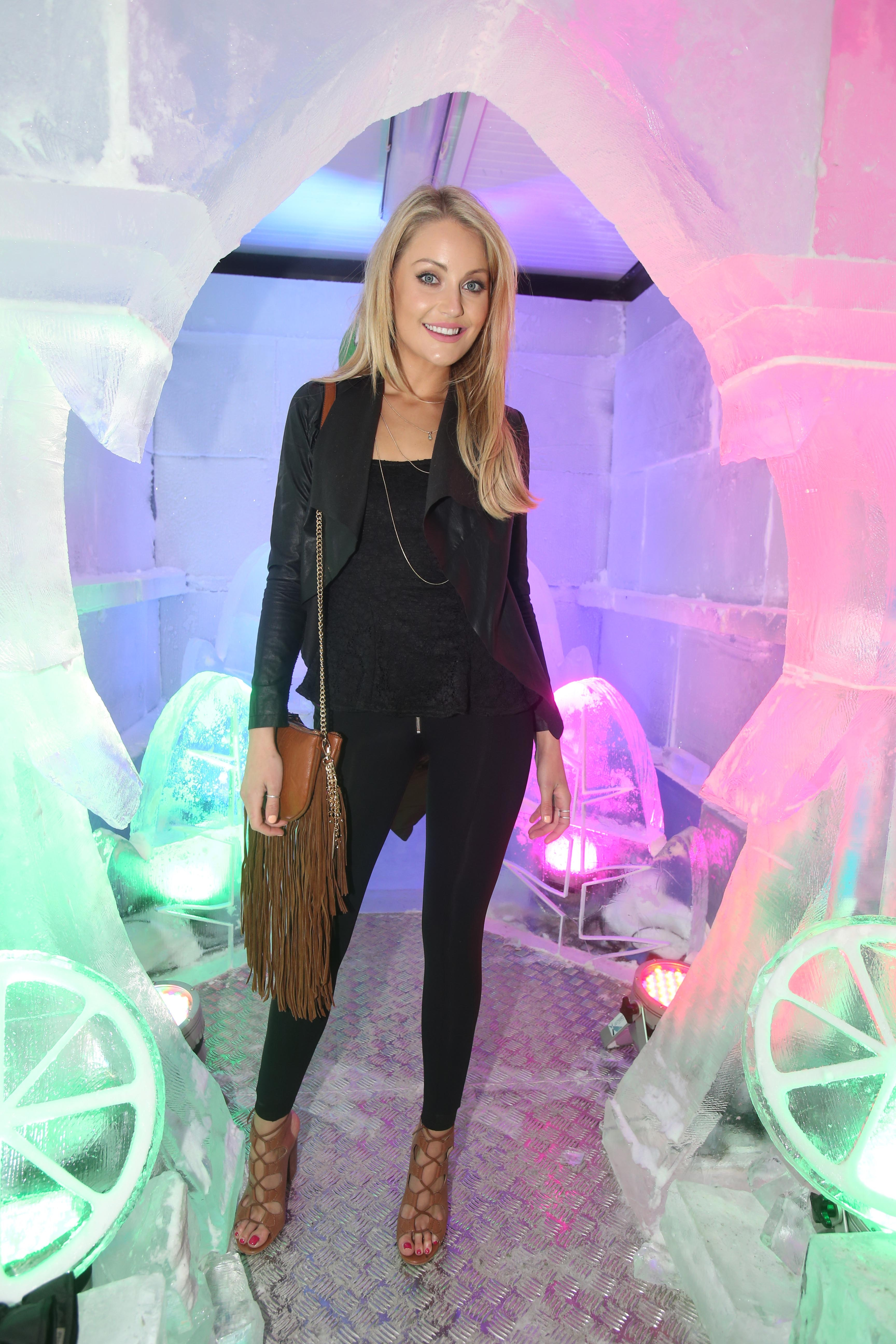 Kerri Nicole Blanc pictured at the launch of the 7UP Mojito Free RefreshMINT Experience on Sir John Rogerson's Quay. Dublin's first ever ice experience is now open to the public until Monday, 6th June.Photo Leon Farrell/Photocall Ireland.