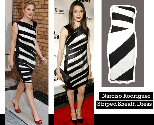 Narciso Rodriguez satin striped sheath dress