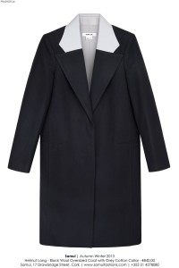 Samui - Helmut Lang Black Wool Oversized Coat with Grey Collar