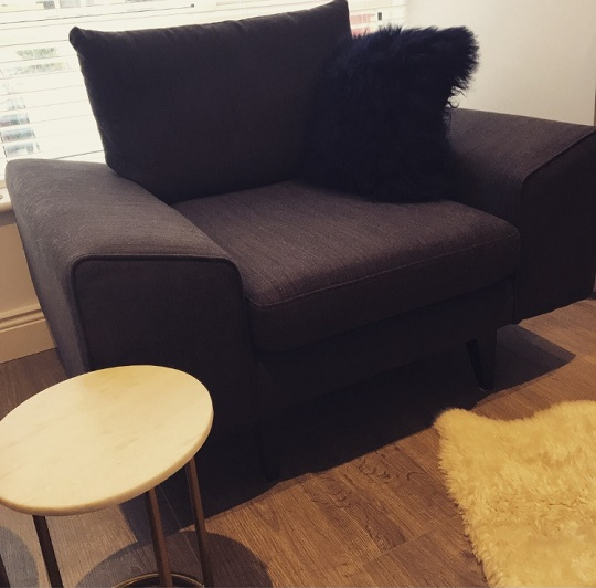 Quartz Armchair French Connection at DFS, Mongolian fur cushion