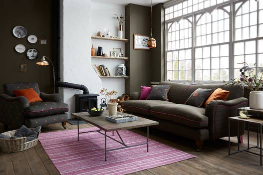 DFS Joules Ilkley Velvet Armchair in Green Peter Partridge print and Joules Ilkley four-seater sofa in Green Heritage Tweed,